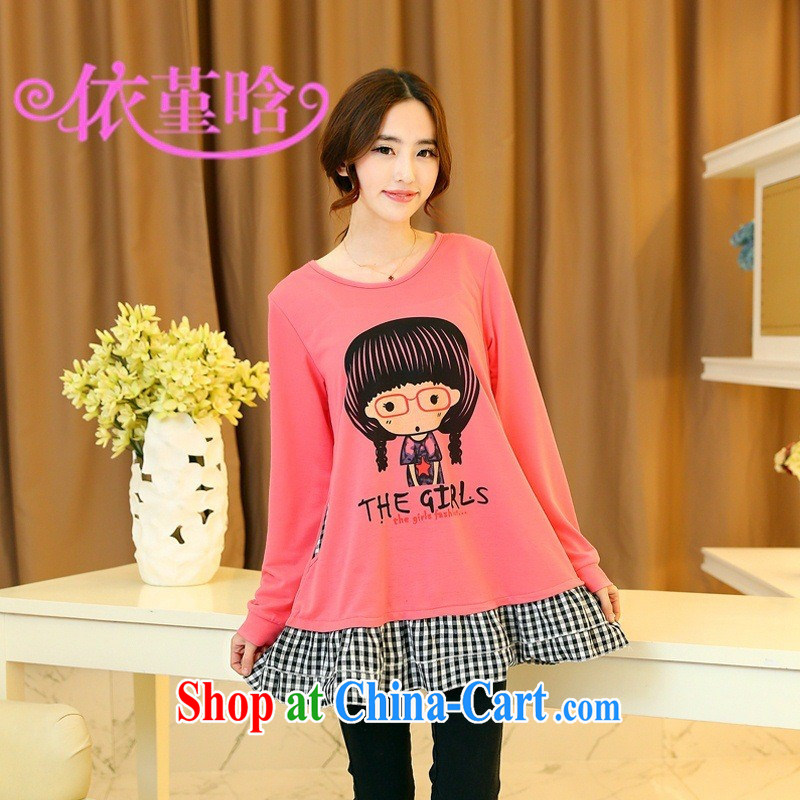 9 month dress (527,706 -- 2015 spring new Korean version with figures Avatar thick MM loose video thin solid T shirt light gray XXXL