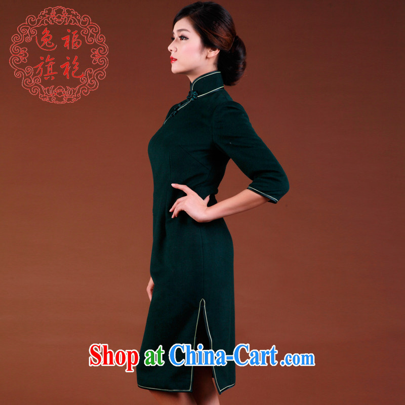 once and for all and well advanced customization new 2015 spring dark green cashmere robes of Korea sepia, long-sleeved dresses winter dark tailored 15 day shipping