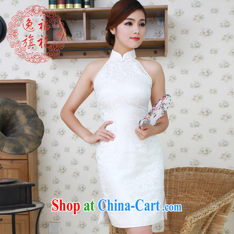once and for all, white dresses, short star with Chinese small dress damask silk cheongsam manually snap custom white tailored 10 day shipping