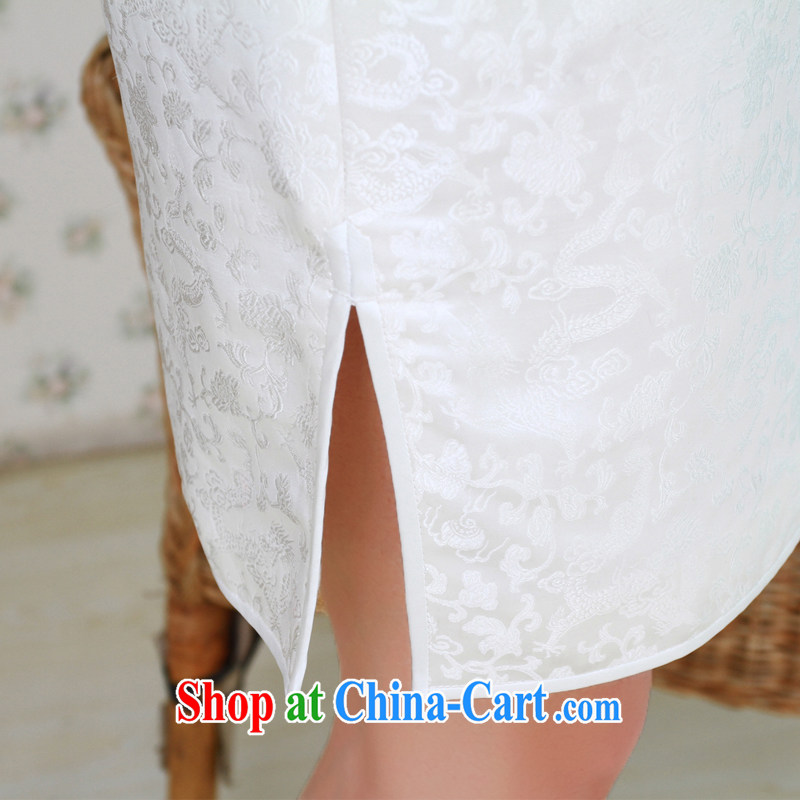 once and for all, white dresses, short star with Chinese small dress damask silk cheongsam manual for custom white tailored 10 Day Shipping, once and for all (EFU), and shopping on the Internet