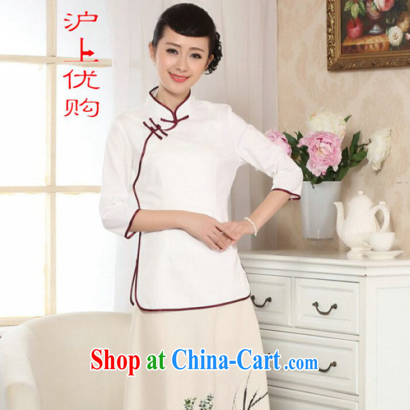 Shanghai optimization options female Tang Women's clothes summer T-shirt, for a tight hand-painted cotton the Chinese Han-female improved white 2XL