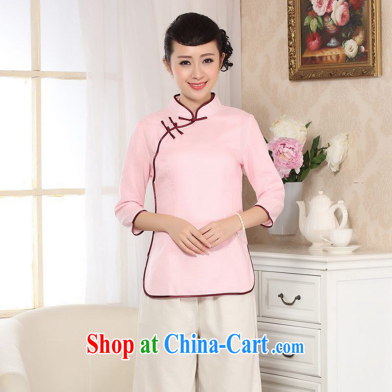 Allow Ms. Jing Tang Women's clothes summer T-shirt, cotton for the hand-painted Chinese Han-female improved Tang in cuff - B pink 2 XL