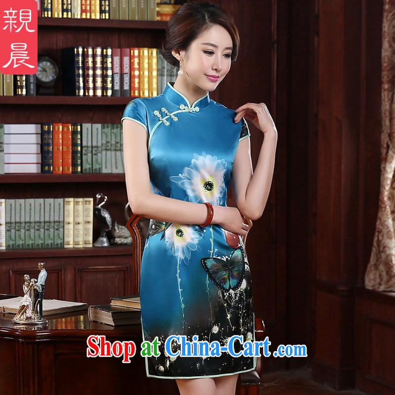 The pro-am 2015 as soon as possible new and retro beauty short improved stylish daily short-sleeved girl cheongsam dress blue M - waist 70 CM