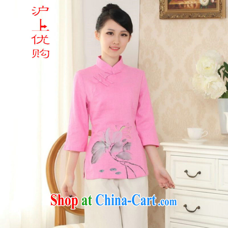On Shanghai and optimize purchase female Tang Women's clothes summer T-shirt, for a tight hand-painted cotton the Chinese Han-female improved pink S