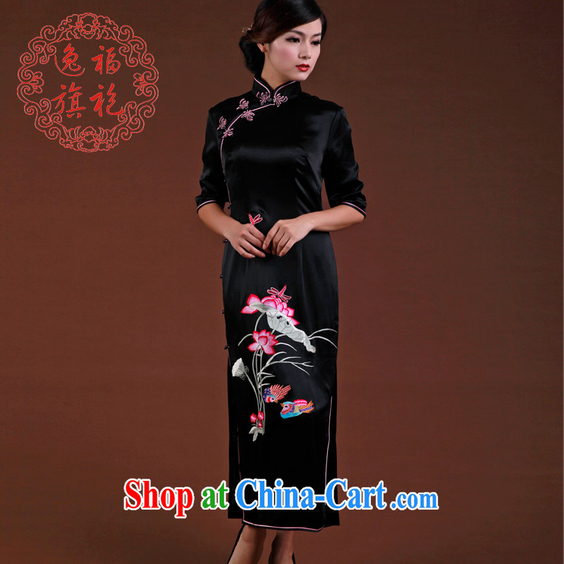 once and for all, new outfit, Autumn 2014 with heavy Silk Cheongsam black embroidery long cheongsam Advanced Custom Black tailored 20 day shipping