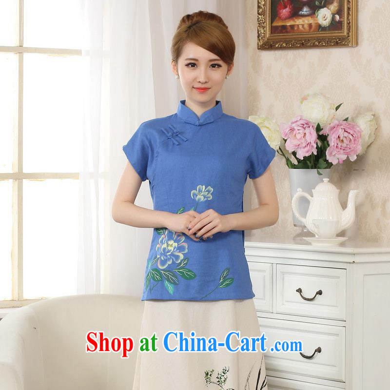 Allow Ms. Jing Tang Women's clothes summer wear T-shirt, cotton for the hand-painted Chinese Han-female improved Tang replace short-sleeved blue 2 XL
