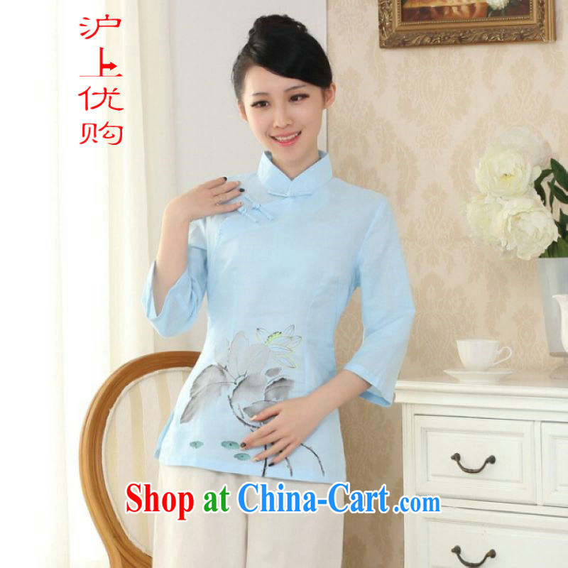 Shanghai optimization options female Tang Women's clothes summer T-shirt, for a tight hand-painted cotton the Chinese Han-female improved light blue 2 XL