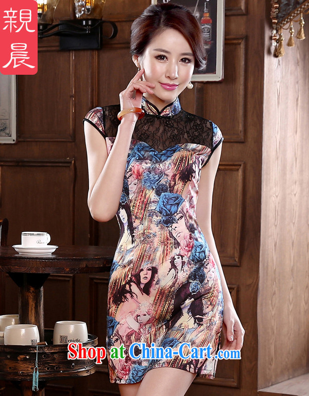 pro-am, new spring 2015 daily retro beauty short, short-sleeved improved stylish girls on the truck cheongsam dress suit 2 XL - waist 80 CM
