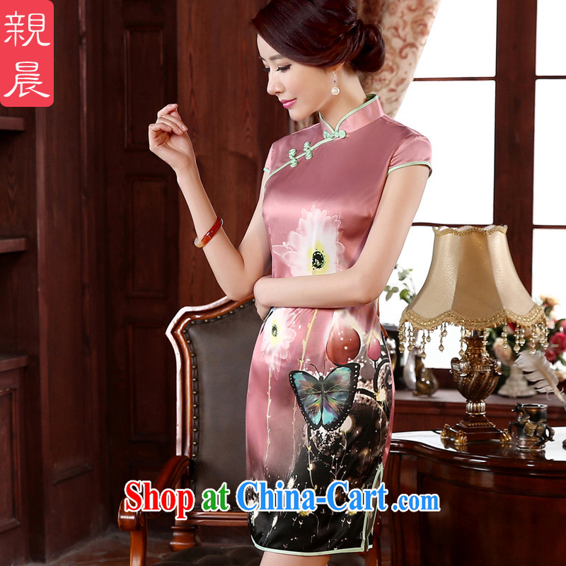 The pro-am -- New, spring 2015 daily improved stylish short, Retro beauty short-sleeved girl cheongsam dress rose red L - waist 73cm - 10 day shipping