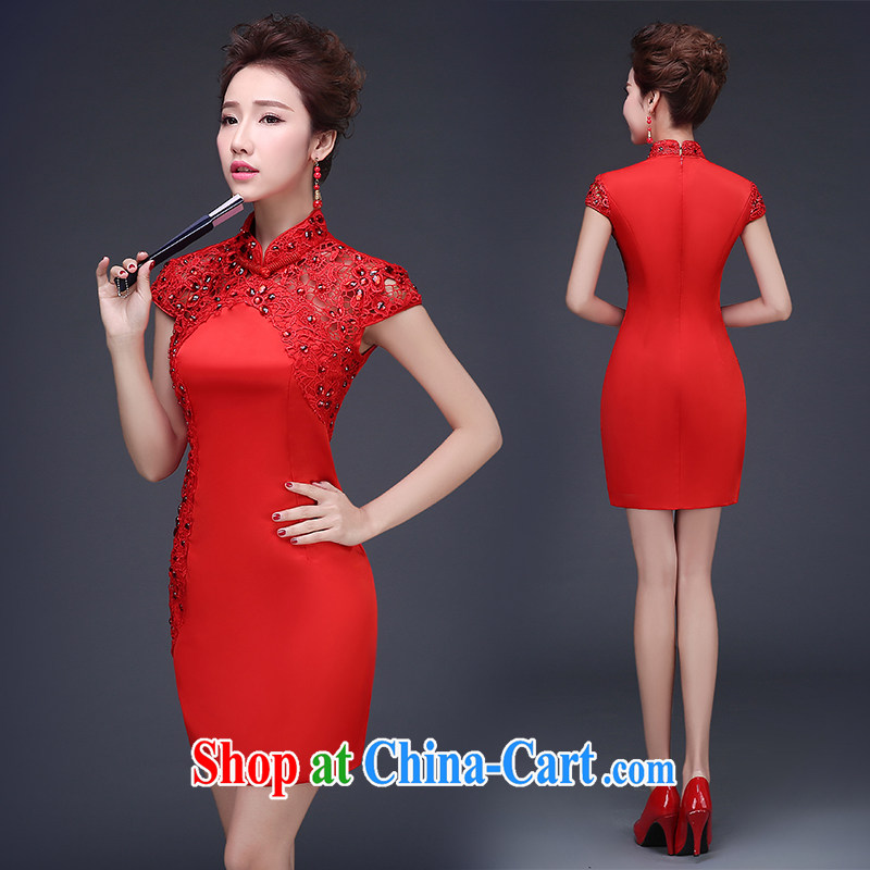 Short bows clothes dresses 2015 new summer wedding dresses Chinese red bridal wedding dress beauty short dress package shoulder the dress red XXL (3 - 5 Day Shipping)