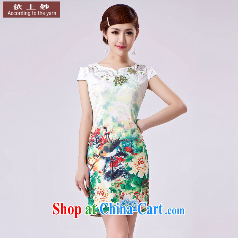 In accordance with the preceding yarn original summer single cheongsam advanced digital flower jacquard cotton 2015 new cheongsam floral XXL