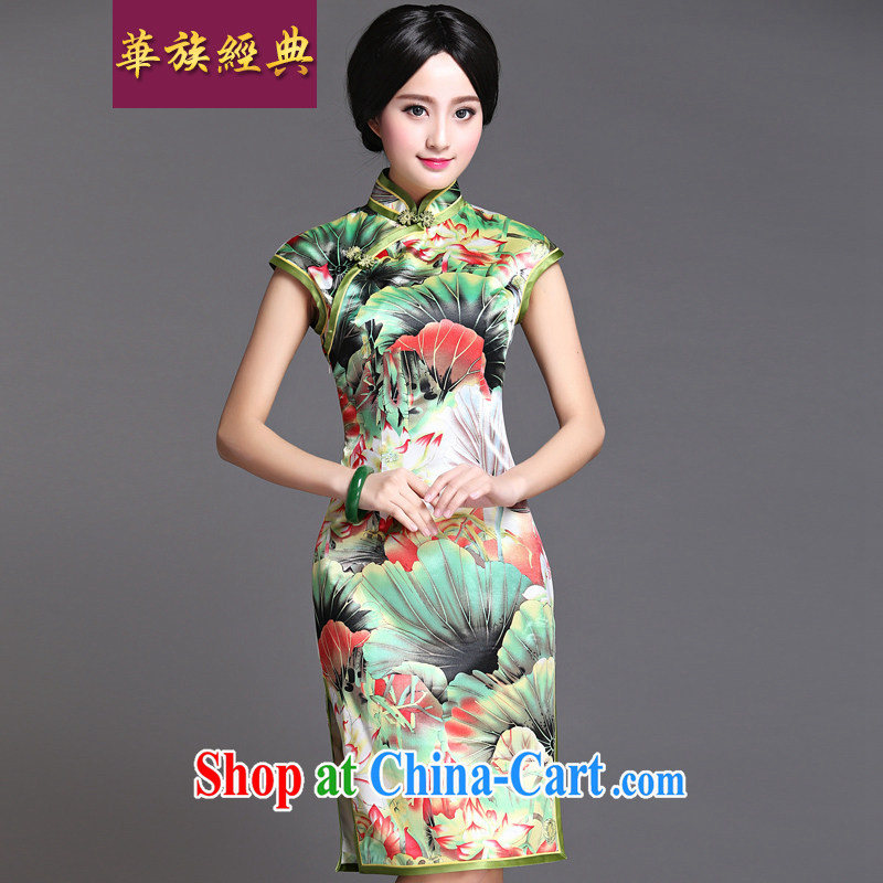 China classic 2015 Ms. summer day Chinese qipao dress retro improved stylish beauty graphics thin, in accordance with green XL