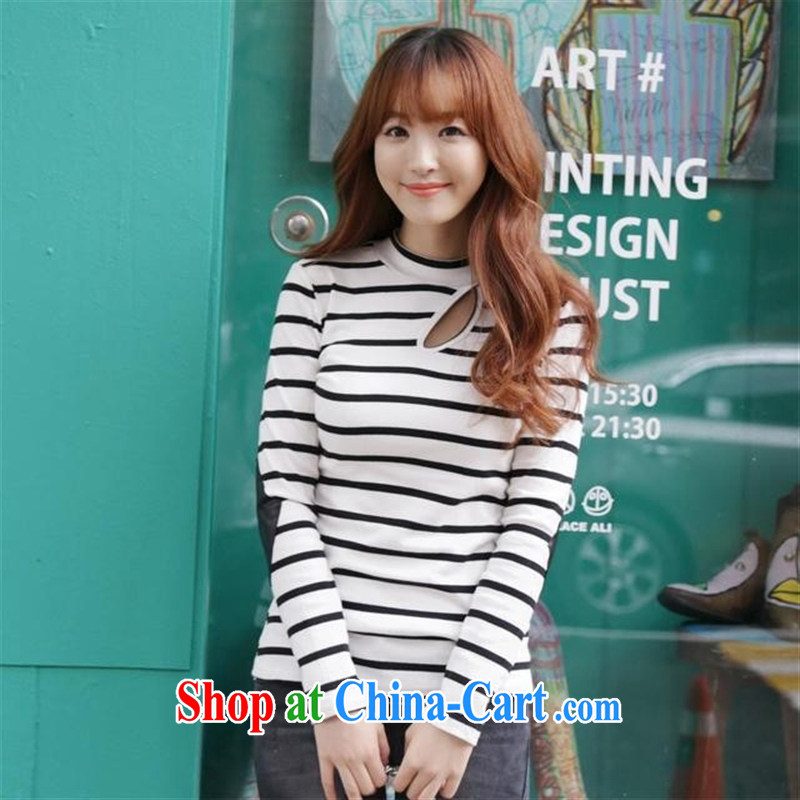 Qin Qing store 2015 spring new Korean Beauty graphics thin stripes cotton long-sleeved shirt T green stripe code