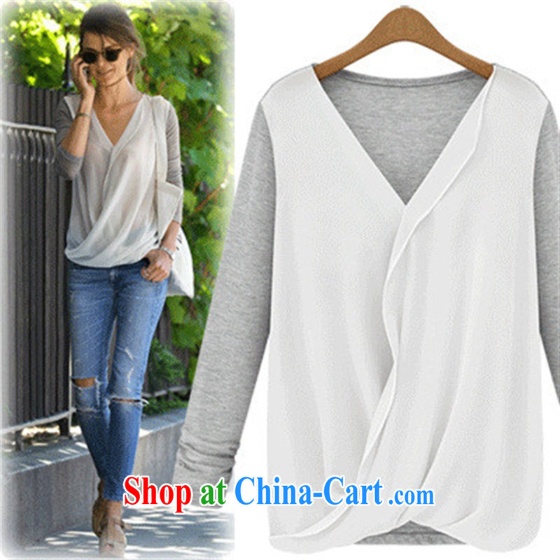 9 month dress women trade in Europe and America, new high-density snow woven stitching knitting fashion blouses gray XL
