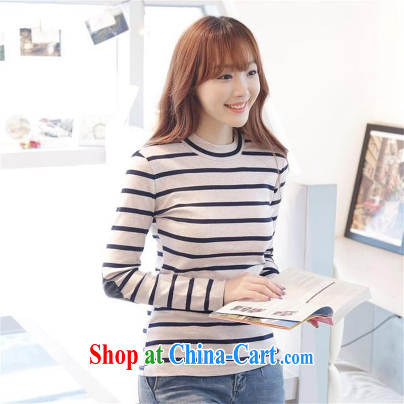 Qin Qing store 2015 spring new Korean fashion T pension cultivating graphics thin stripes cotton long-sleeved shirt T female Green stripe code