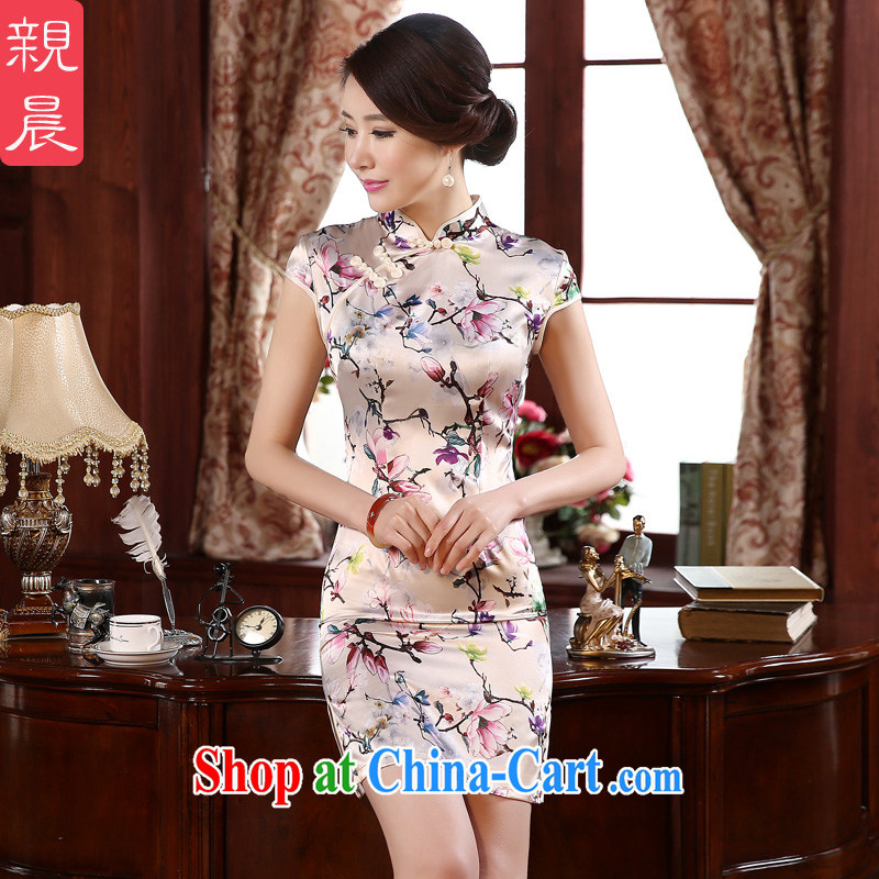 pro-am New 2015 spring retro beauty improved stylish short, short-sleeved the forklift truck girl cheongsam dress white XL - waist 77 CM