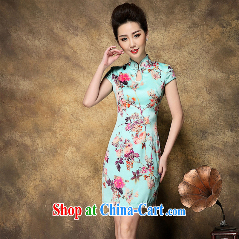 Summer 2015 new cheongsam wholesale Web store agent a generation of packets temperament stamp cheongsam dress picture color XXL