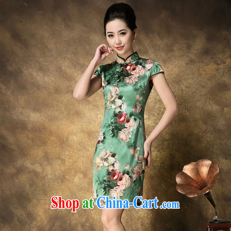 New summer 2015, upscale Silk Cheongsam dress elegant rose stamp short sleeve cheongsam dress wholesale picture color XXL