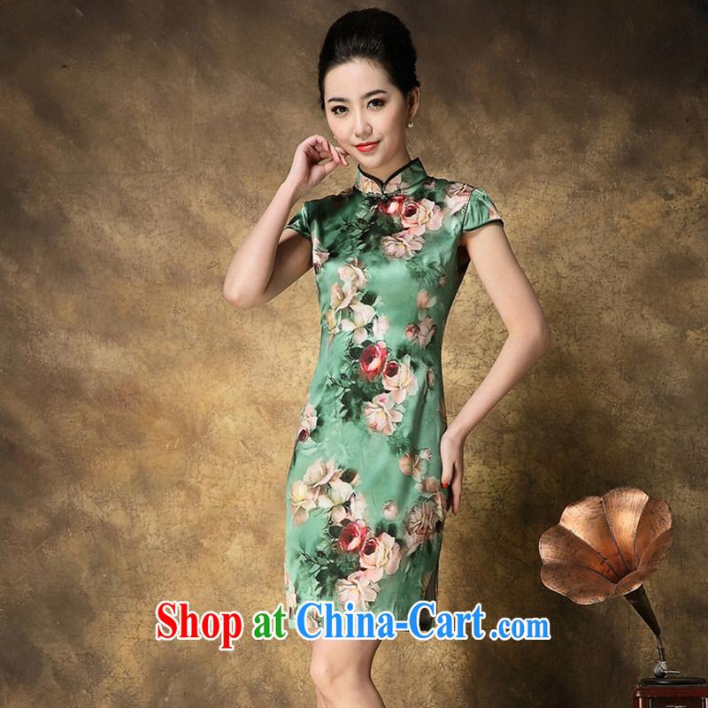 New summer 2015, upscale Silk Cheongsam dress elegant rose stamp short sleeve cheongsam dress wholesale picture color XXL