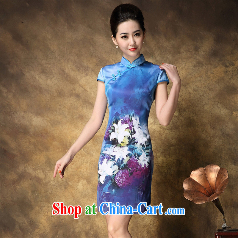 2015 summer new cheongsam wholesale Web store agent free elegance Silk Cheongsam stamp duty beauty picture color XXL