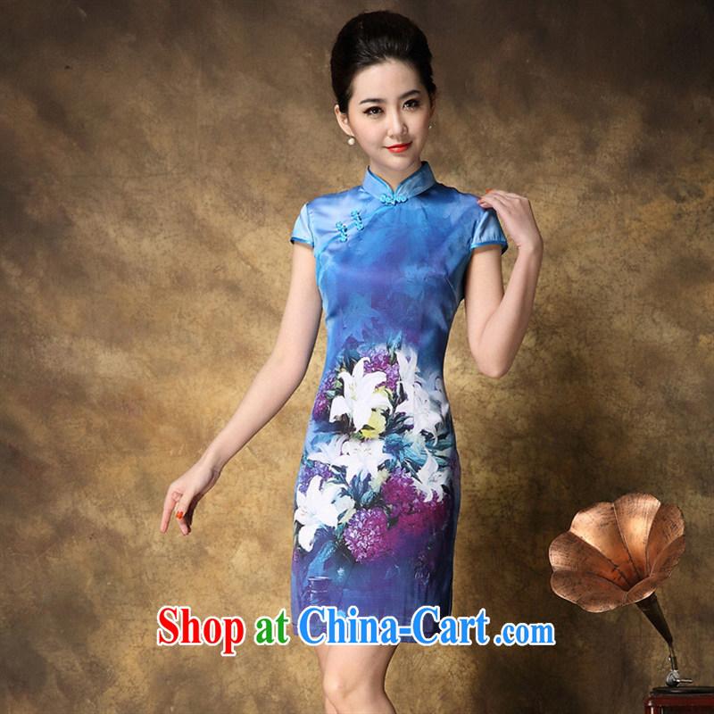 2015 summer new cheongsam wholesale Web store agent free elegance Silk Cheongsam stamp duty beauty picture color XXL