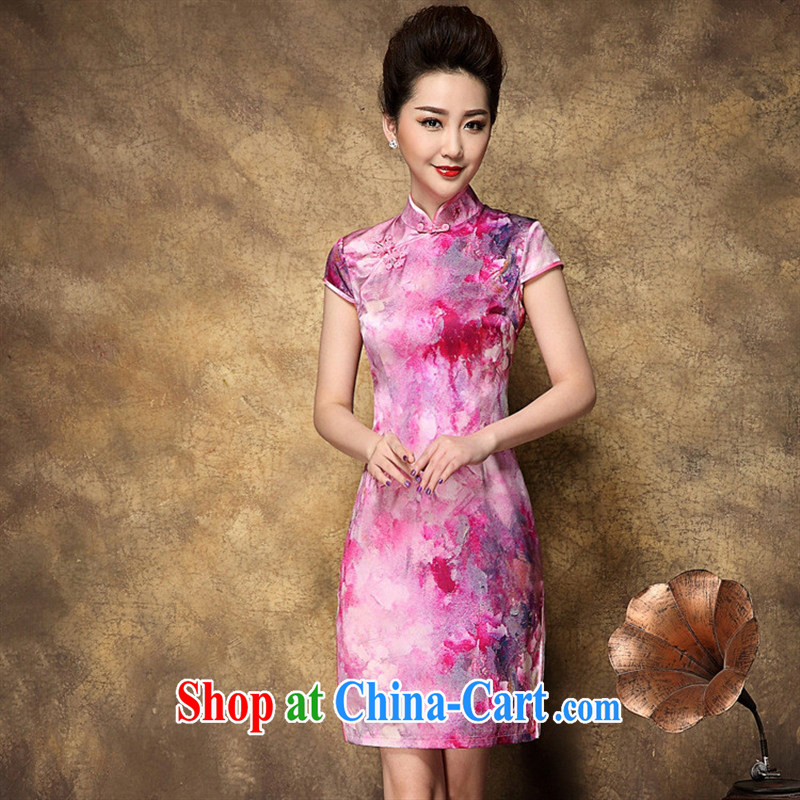 European and American style fashion style beauty dresses summer 2015 new retro ethnic wind Silk Cheongsam stamp duty skirt picture color XL