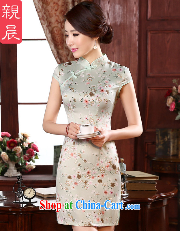 pro-am 2015 new daily spring retro beauty short stylish improved girls short-sleeved the forklift truck cheongsam dress white L - waist 73 CM