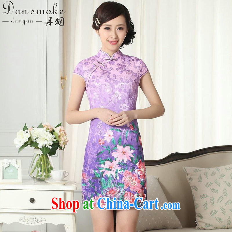 Dan smoke summer new female lady stylish jacquard cotton cultivating short cheongsam dress Chinese, for a tight cheongsam dress such as the color 2 XL