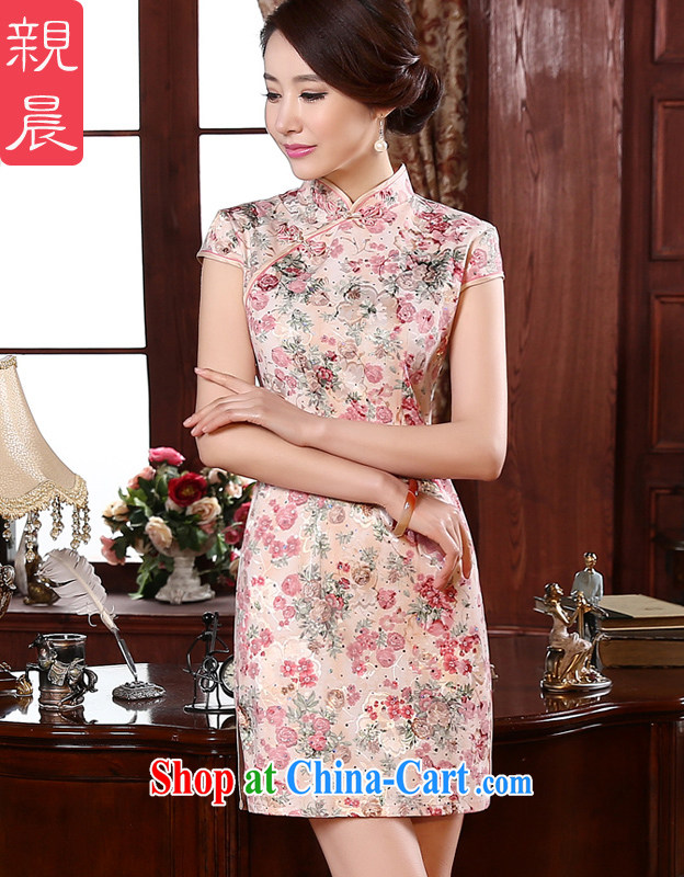 pro-am 2015 spring retro beauty short improved stylish daily short-sleeved girls dresses the forklift truck dresses red L - waist 73 CM
