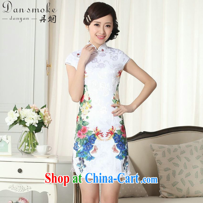 Bin Laden smoke summer new female lady stylish jacquard cotton cultivating short cheongsam dress stamp duty is a hard-pressed Chinese qipao gown D 0273 2 XL