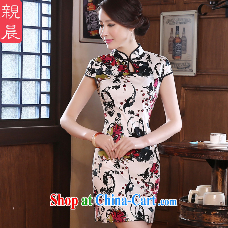 pro-am New 2015 spring day improved stylish short beauty retro short-sleeve on the truck girl cheongsam dress suit M - waist 70 CM