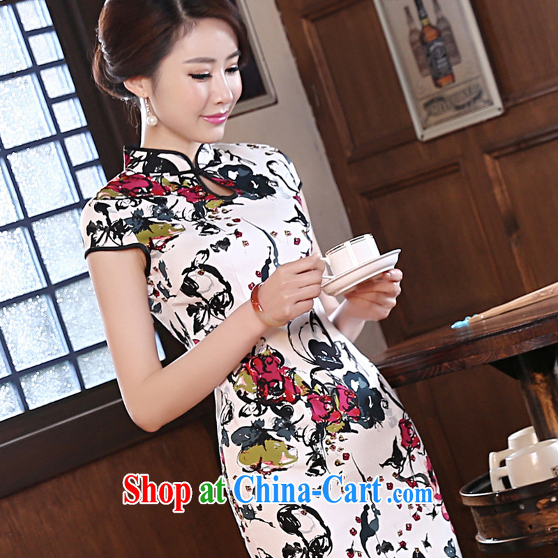 pro-am, new 2015 spring day improved stylish short, cultivating retro short-sleeve on the truck girl cheongsam dress suit M - waist 70cm, the pro-am, shopping on the Internet