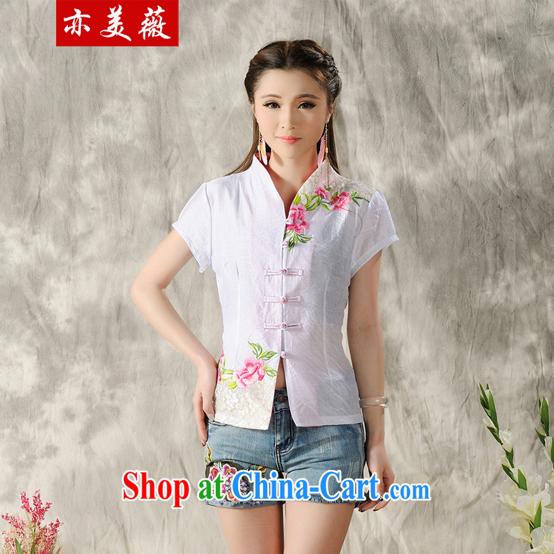 Also the Ms Audrey EU summer 2015 New National wind Peony embroidery Tang with improved short-sleeve T-shirt white XXL