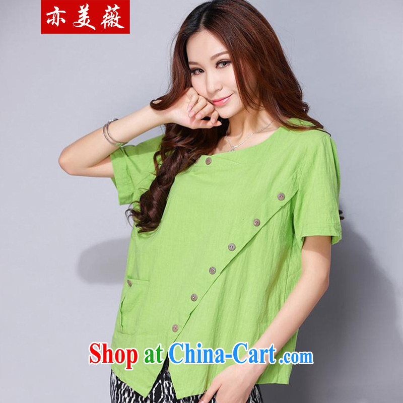 Also the US Ms Audrey EU summer 2015 New National wind loose cotton mA short-sleeved larger shirt green L