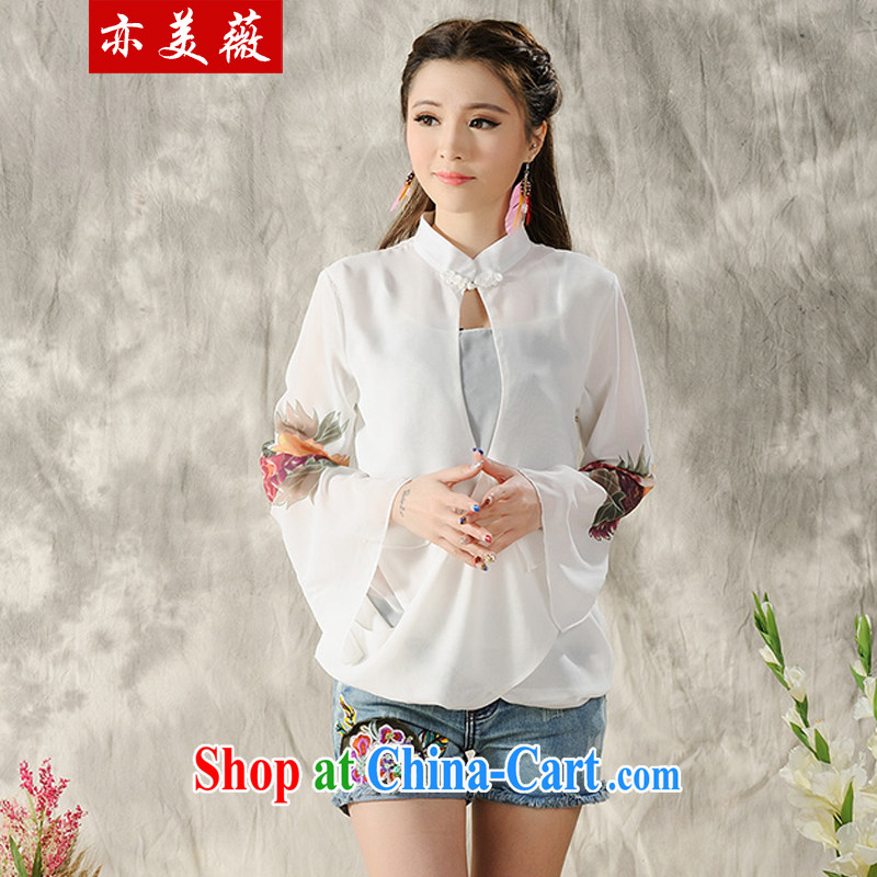 Also the US Ms Audrey EU 2015 spring and summer new Ethnic Wind hand-painted long-sleeved T-shirt outfit white M