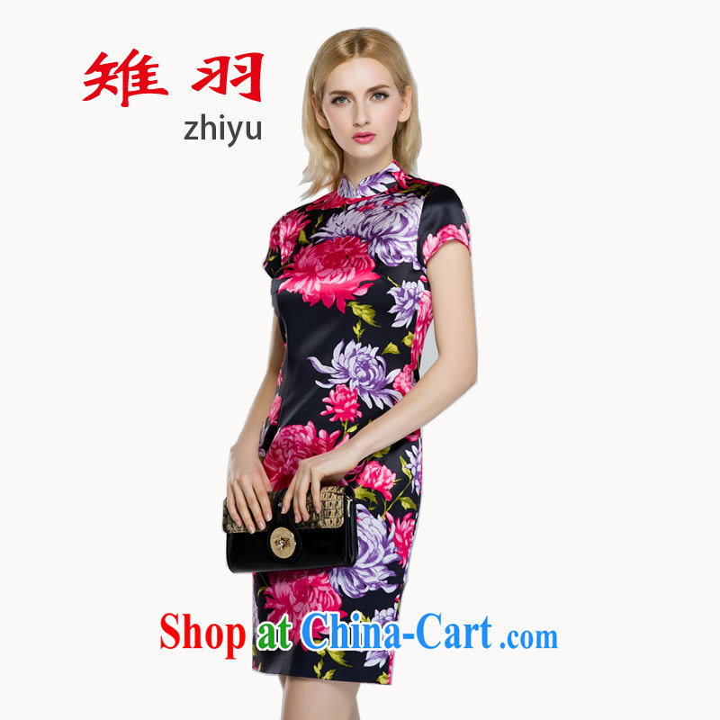 pheasants feathers cheongsam dress Old Shanghai style 2015 spring and summer the DAISY outfit silk stamp pack and qipao XL