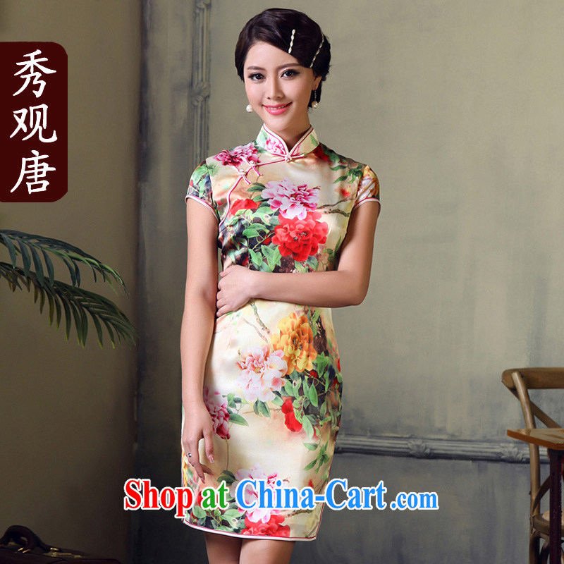 The CYD HO Kwun Tong' Lady Peony 2015 summer new upscale heavy Silk Cheongsam dress retro fashion cheongsam dress G 611,519 picture color XXL