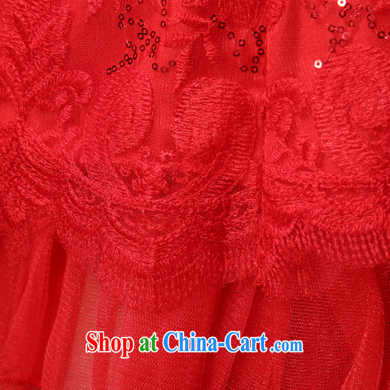A good service is 2015 new summer bridal red wedding dress short stylish lace cheongsam dress uniform toasting red M - 40, good service, and, on-line shopping