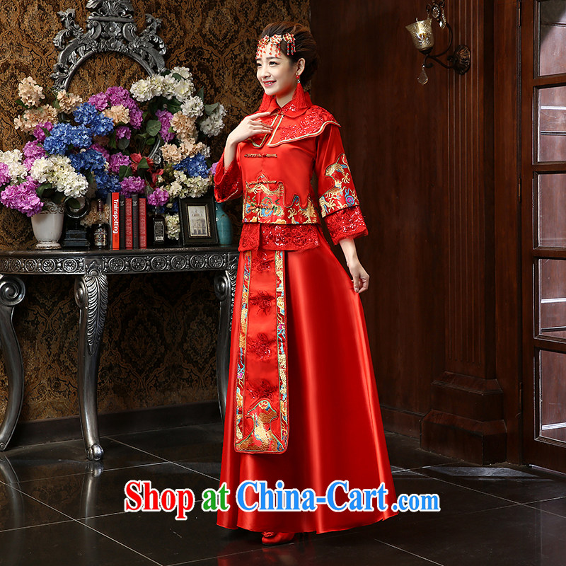 Su Wu edge 2015 new bride Chinese antique dresses video thin damask-su Wo service serving toast entered marriage Yi Red Red XL