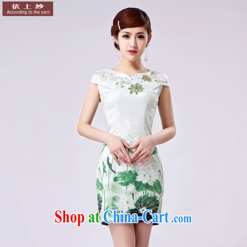 The original 2015 summer new outfit, Ms. Tang with Chinese improved cheongsam advanced digital spend. beads, embroidery, jacquard cotton robes suit XXL