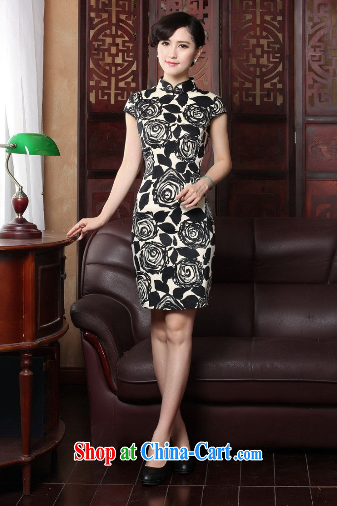 Bin Laden smoke 2015 summer new cheongsam dress short-sleeved Chinese improved legislative style retro burn flowers cheongsam Beauty Figure 3XL pictures, price, brand platters! Elections are good character, the national distribution, so why buy now enjoy more preferential! Health