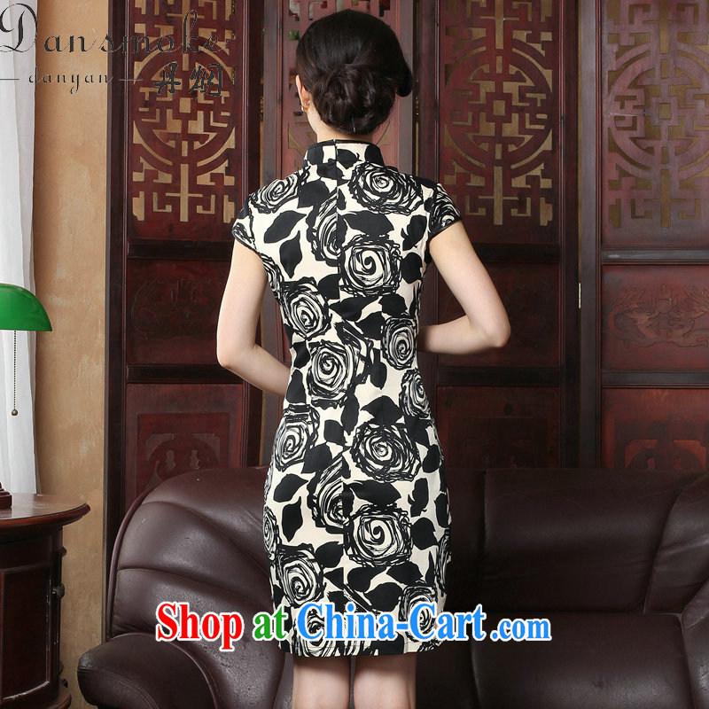 Bin Laden smoke 2015 summer new cheongsam dress short-sleeved Chinese improved legislative style retro burn flowers cheongsam Beauty Figure 3XL, Bin Laden smoke, shopping on the Internet