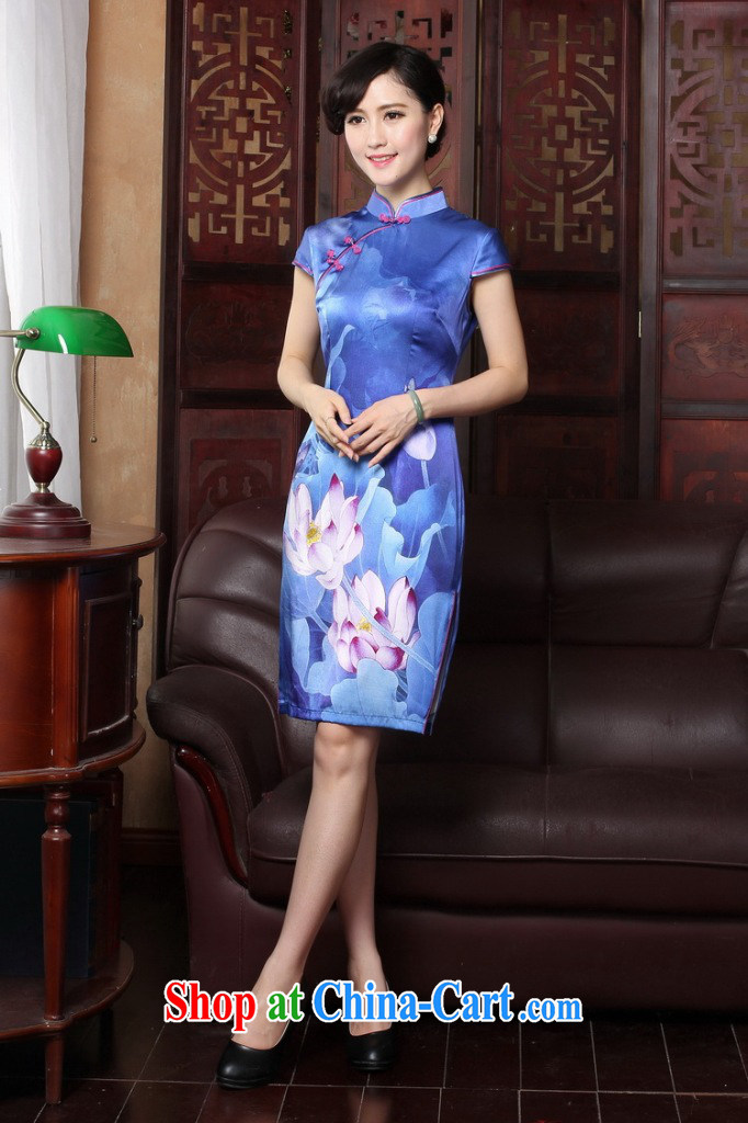 Dan smoke 2015 summer short dresses with new female Silk Cheongsam high-end sauna Silk Cheongsam banquet dress female figure 3XL pictures, price, brand platters! Elections are good character, the national distribution, so why buy now enjoy more preferential! Health