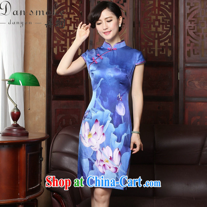 Bin Laden smoke 2015 summer short cheongsam with new female Silk Cheongsam high-end sauna Silk Cheongsam banquet dress female figure 3XL