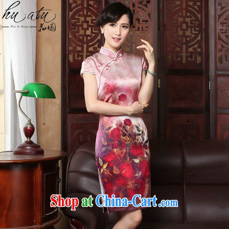 Take the 2015 new roses upscale sauna silk retro genuine heavy Silk Cheongsam short summer dresses female figure color 2 XL