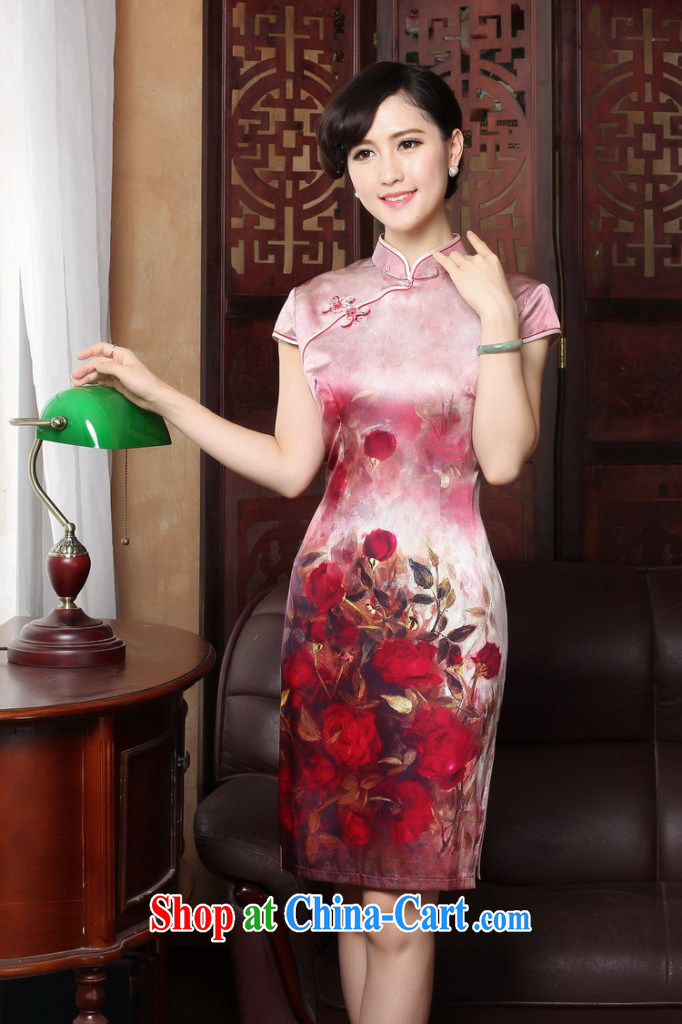Dan smoke 2015 new rose high sauna silk retro genuine heavy Silk Cheongsam short summer dresses female figure color 2 XL pictures, price, brand platters! Elections are good character, the national distribution, so why buy now enjoy more preferential! Health