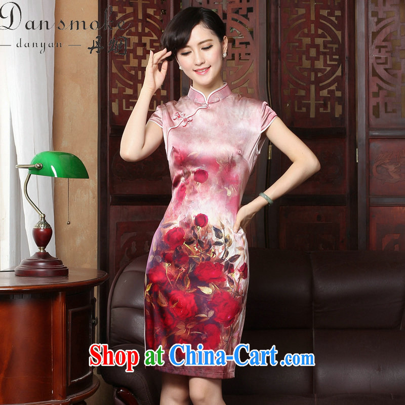 Dan smoke 2015 new rose high sauna silk retro genuine heavy Silk Cheongsam short summer dresses female figure color 2 XL