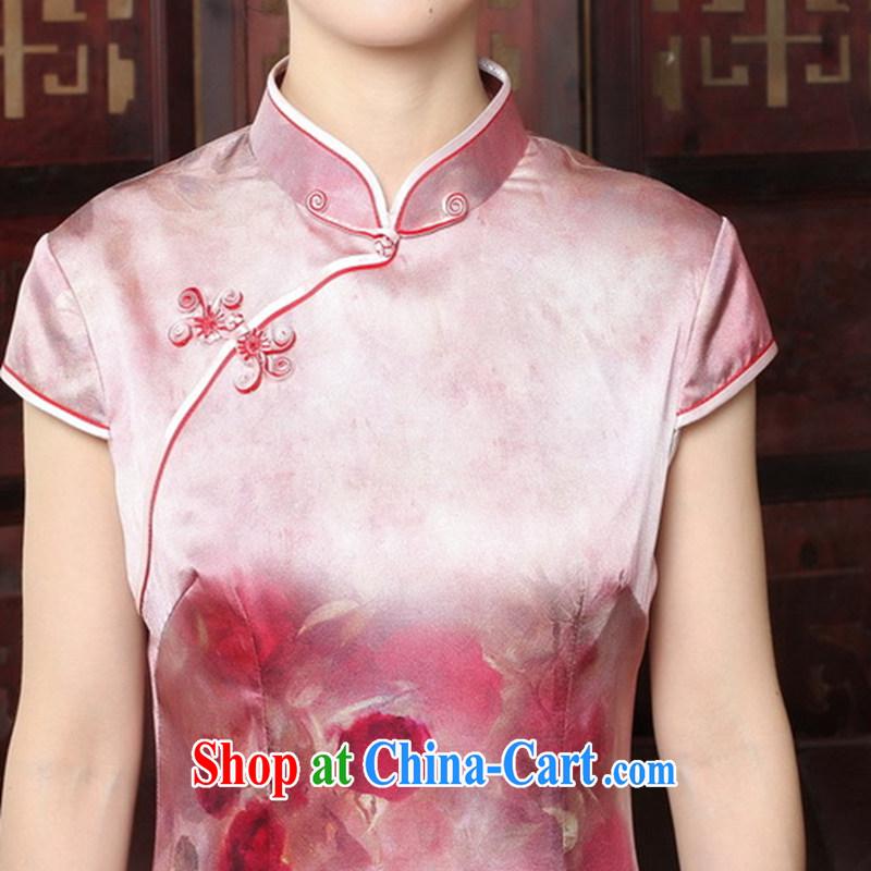 Bin Laden smoke 2015 new rose high sauna silk retro genuine heavy Silk Cheongsam short summer dresses female figure color 2 XL, Bin Laden smoke, shopping on the Internet