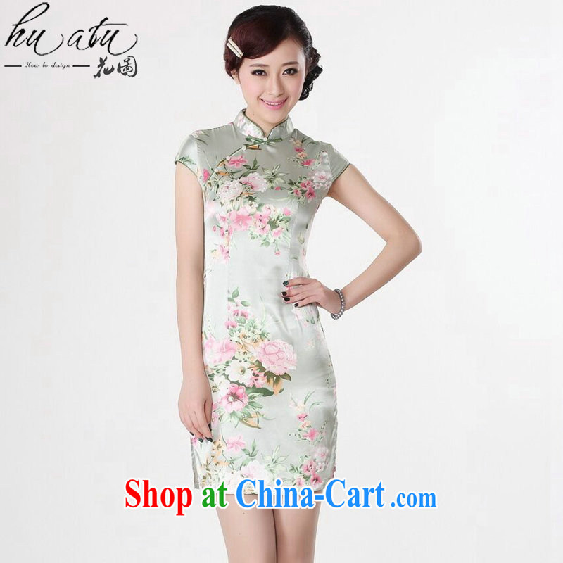 Spend the Summer load new cheongsam dress Chinese Chinese improved, for national costume is a hard stamp short cheongsam figure color XL