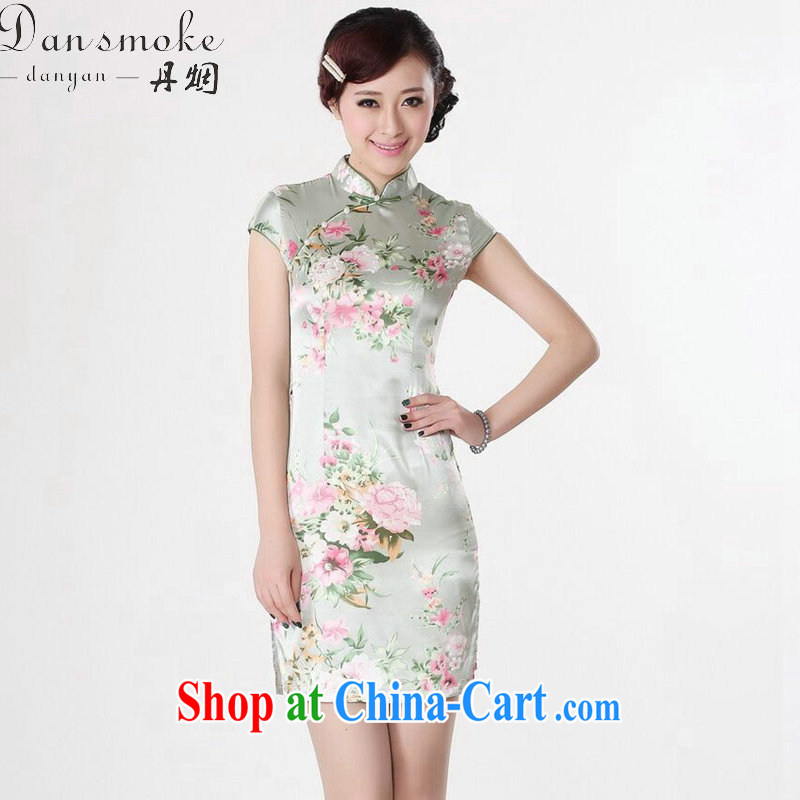Bin Laden smoke-free summer wear new dresses women's clothing Chinese Chinese improved, for national costumes the flap stamp short cheongsam as shown color XL